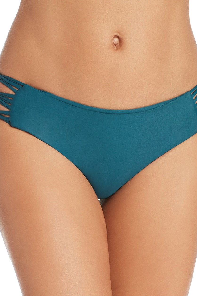 Women's Barcelona Full Coverage String Side Bikini Bottom, Dark Teal