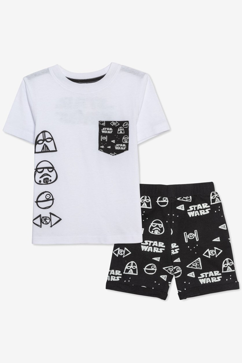 Toddler Boys T-Shirt & Shorts Set, White/Black