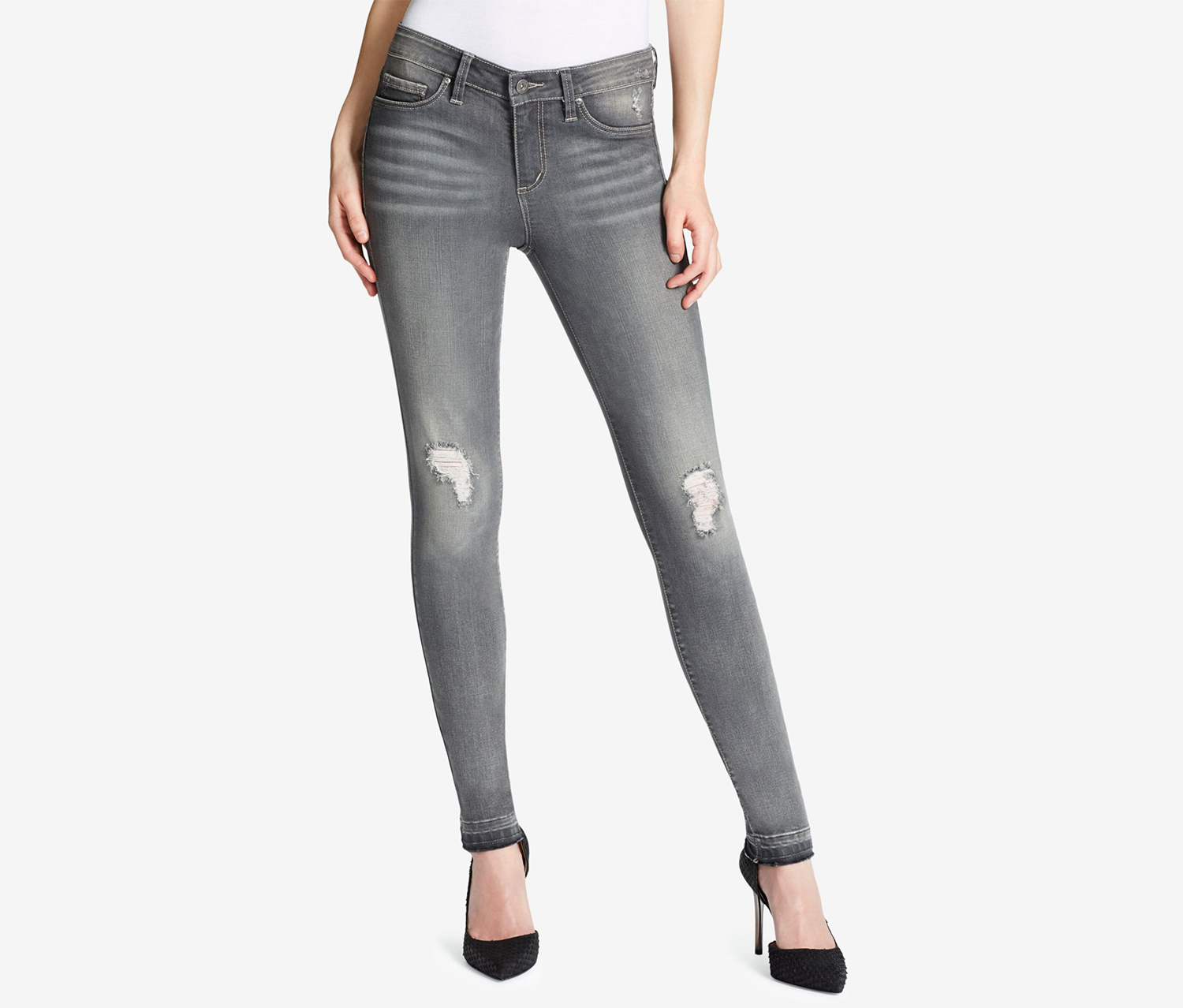 Women's Kiss Me Destructed Skinny Jeans, Gray