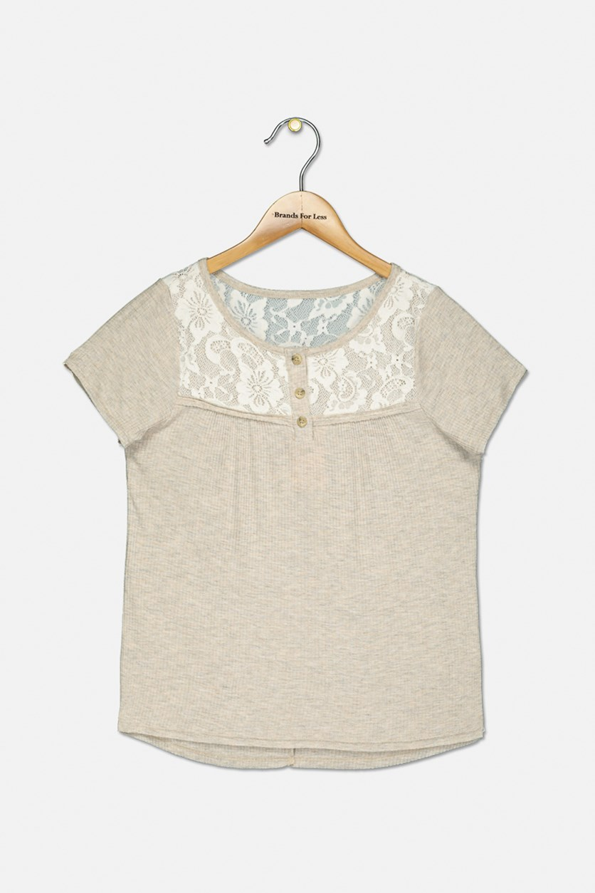 Girls' Lace Button Up Top, Oatmeal