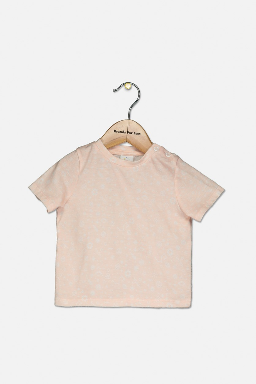 Baby Girls Allover Print Top, Peach