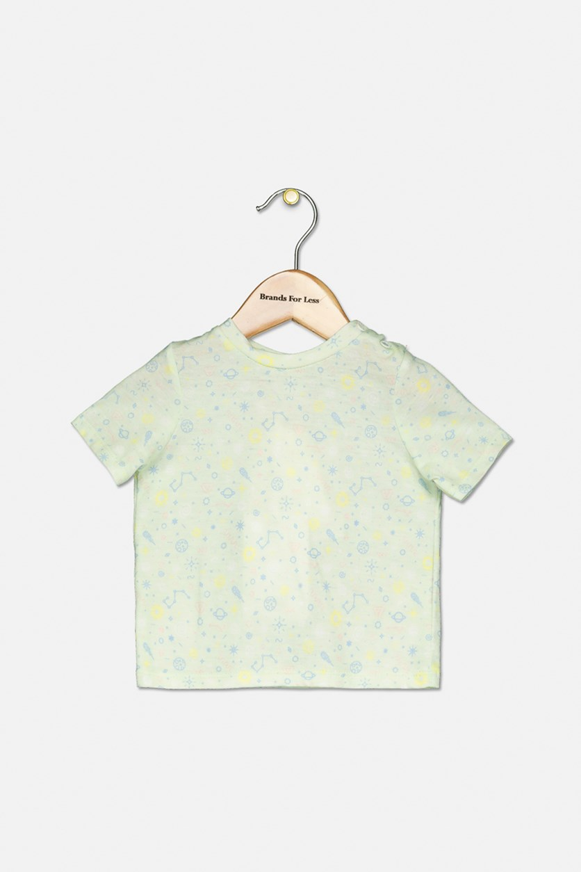 Baby Girls Allover Print Top, Mint Green