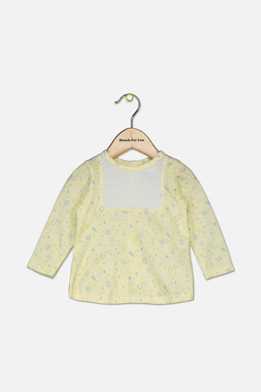 Baby Girls Long Sleeve Top, Yellow/White