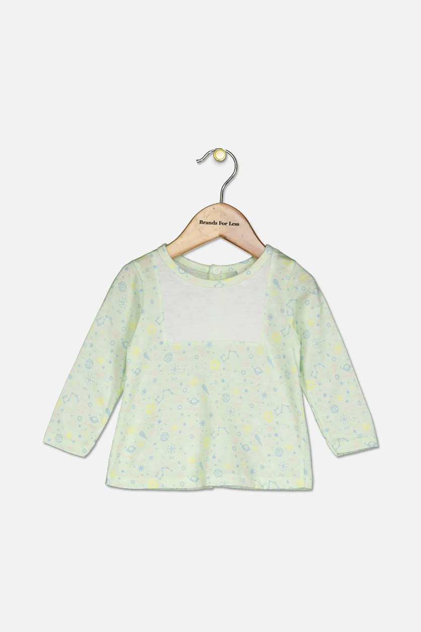 Baby Boy's Long Sleeves Top, Green/White