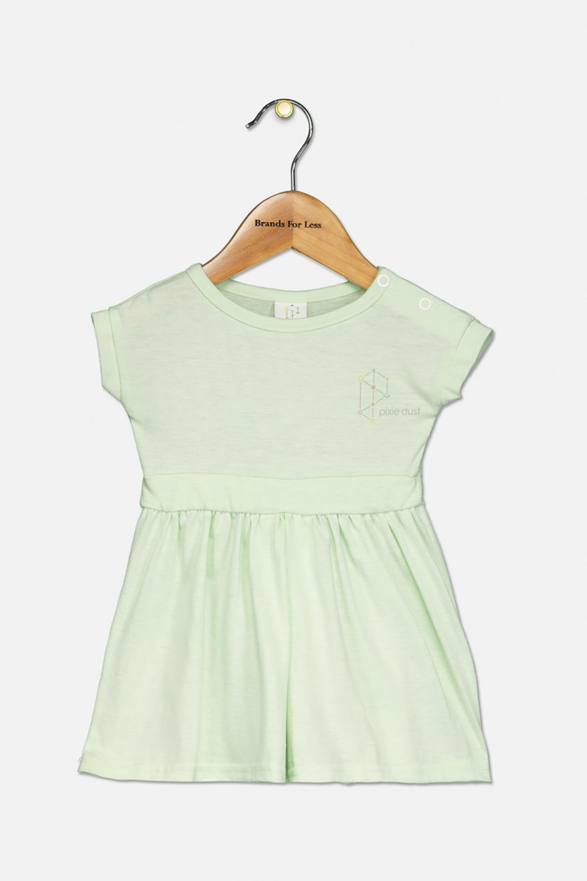 Toddler Girl's Short Sleeve Dress, Mint Green