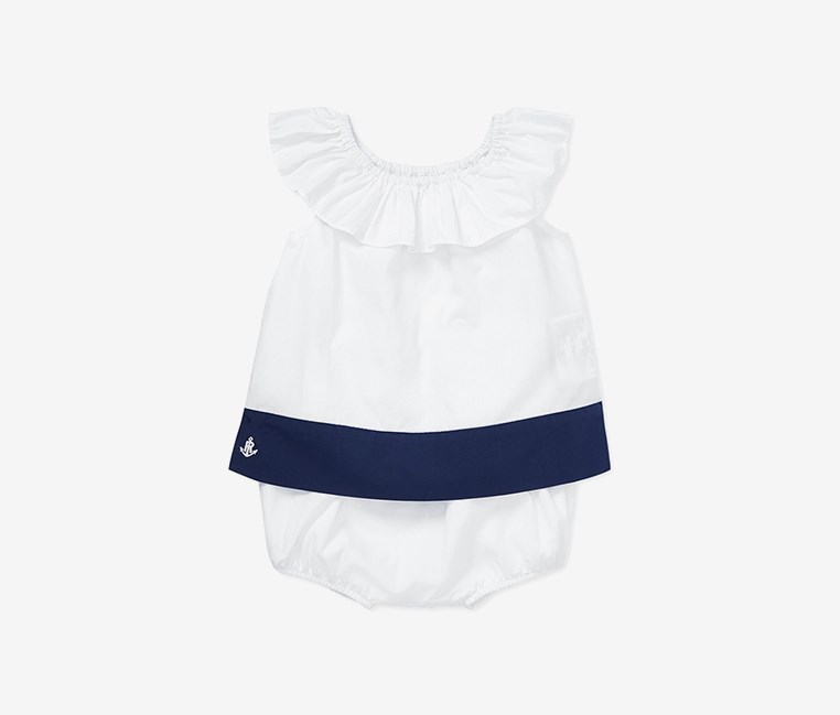 Baby Girl's Color Blocked Ruffled Top & Shorts Set, White/Navy