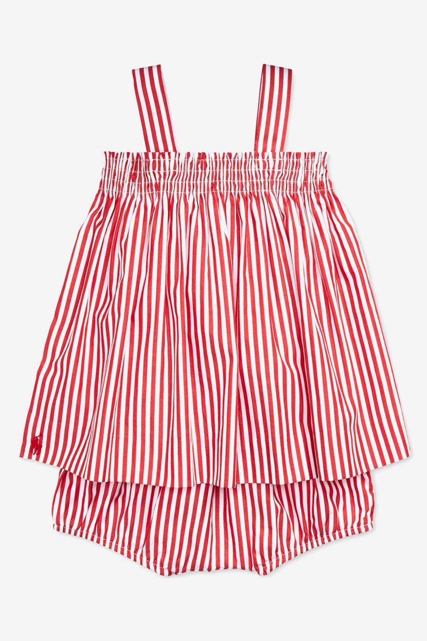 Baby Girl's Bengal-Striped Top & Shorts Set, Red/White