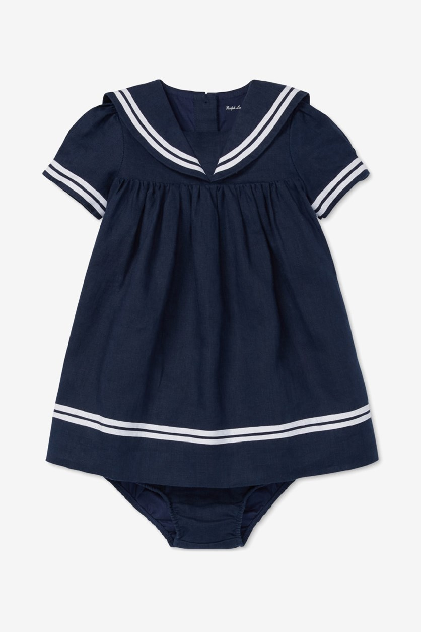 Baby Girl's Sailor Dress & Bloomers Set, Navy Blue
