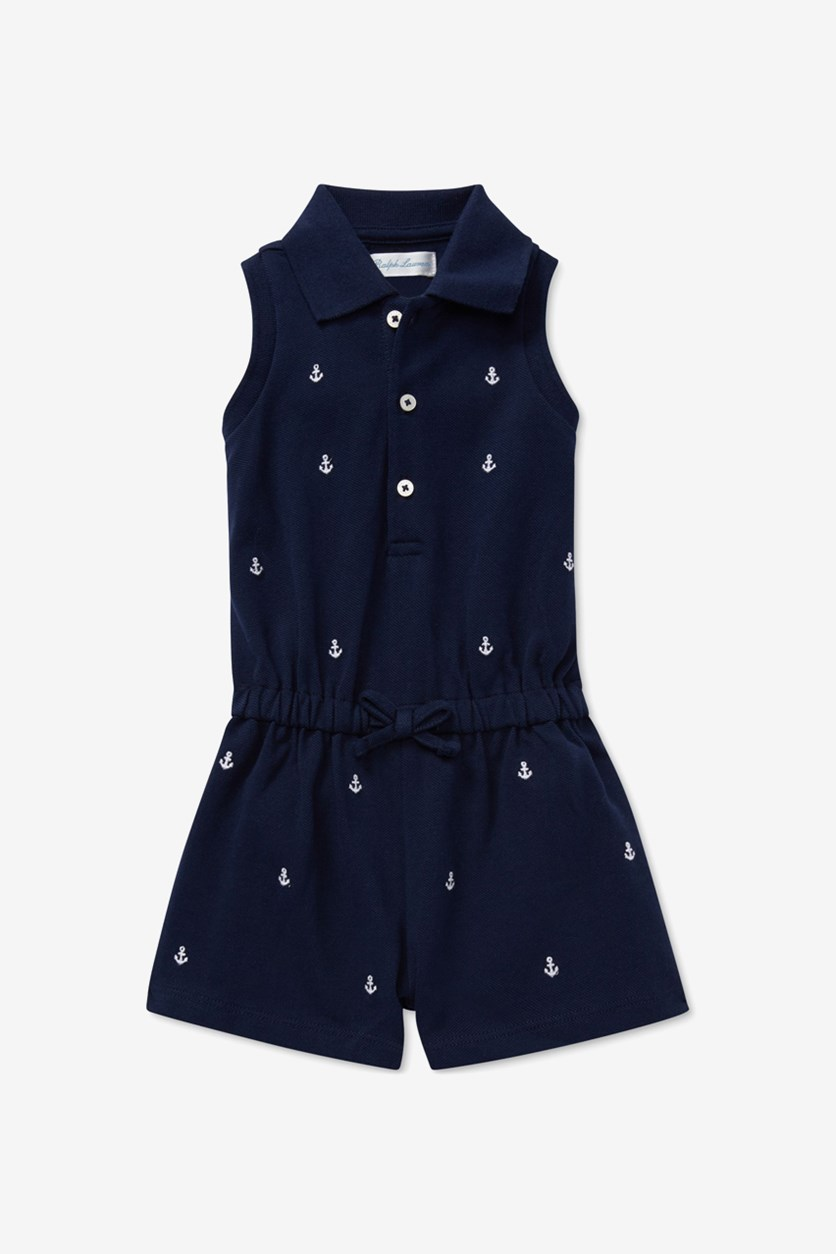 Baby Girls Embroidered Pique Cotton Romper, French Navy