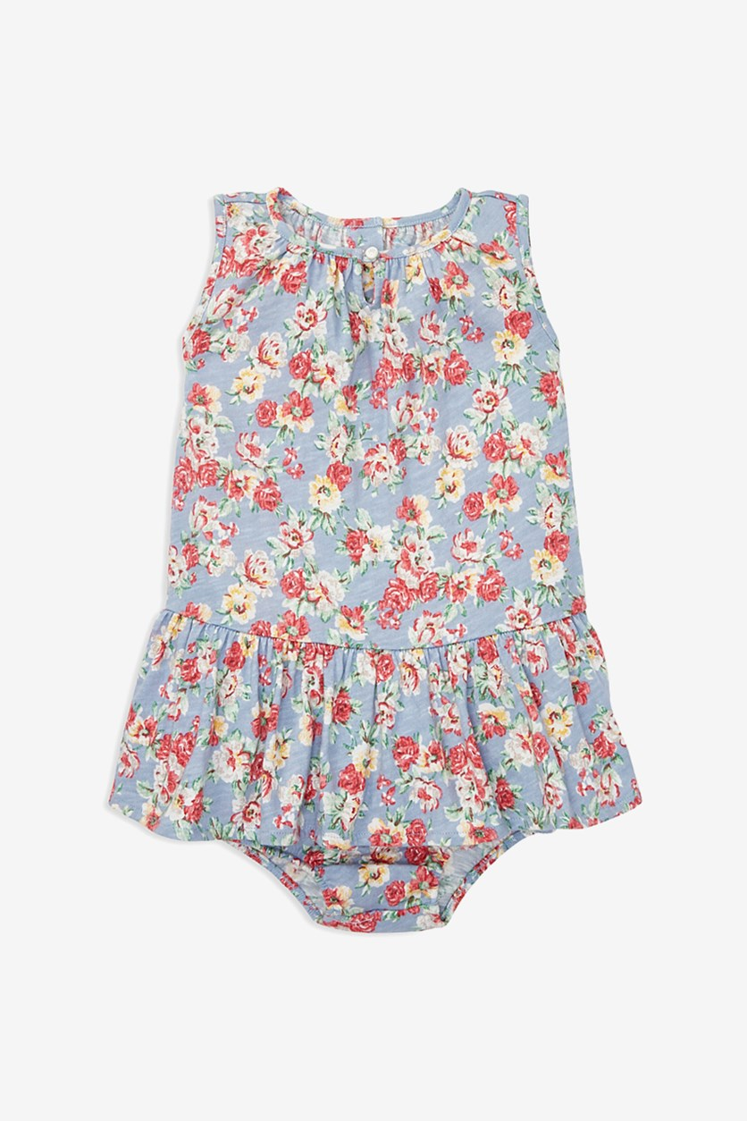 Baby Girls Floral Cotton Dress & Bloomers, Blue Combo