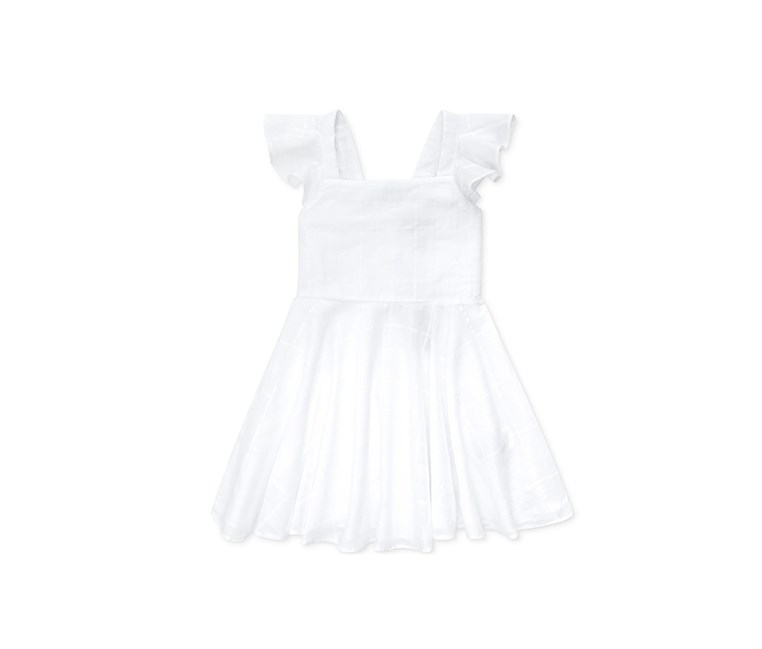 Toddler Girls Windowpane Cotton Dress, White
