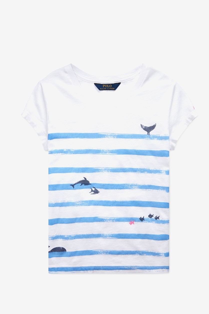 Toddler Girls Striped Graphic T-Shirt, White
