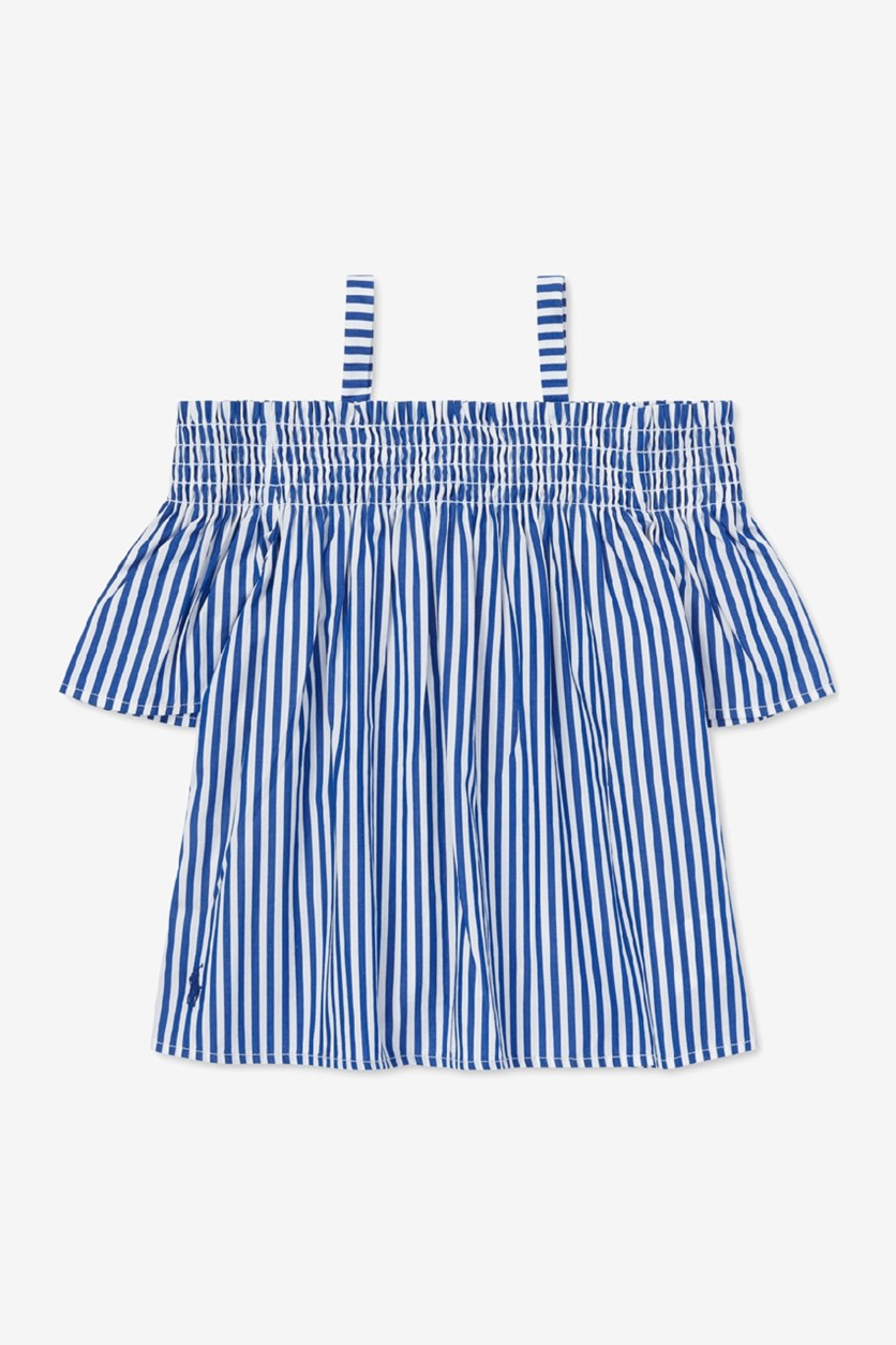 Toddler Girls Cotton Off-The-Shoulder Tops, Blue/White