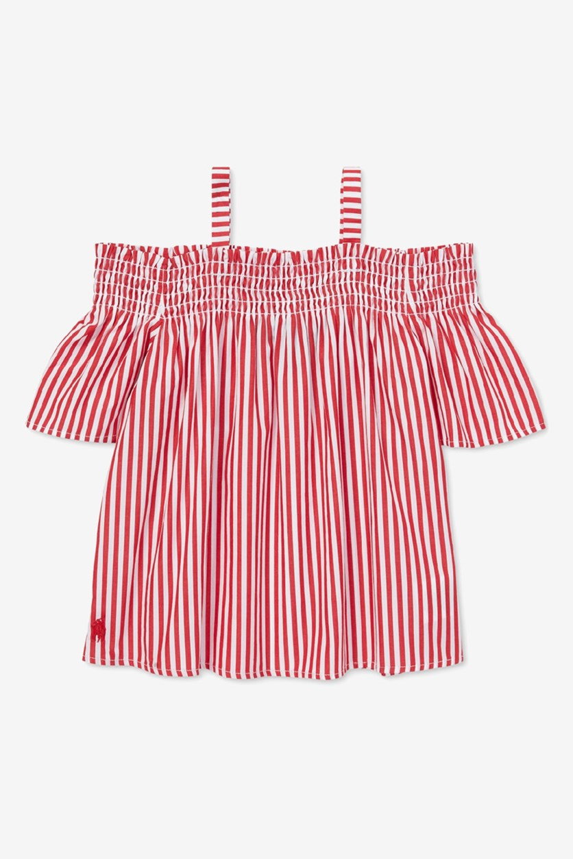 Toddler Girls Cotton Off-The-Shoulder Top, Red/White