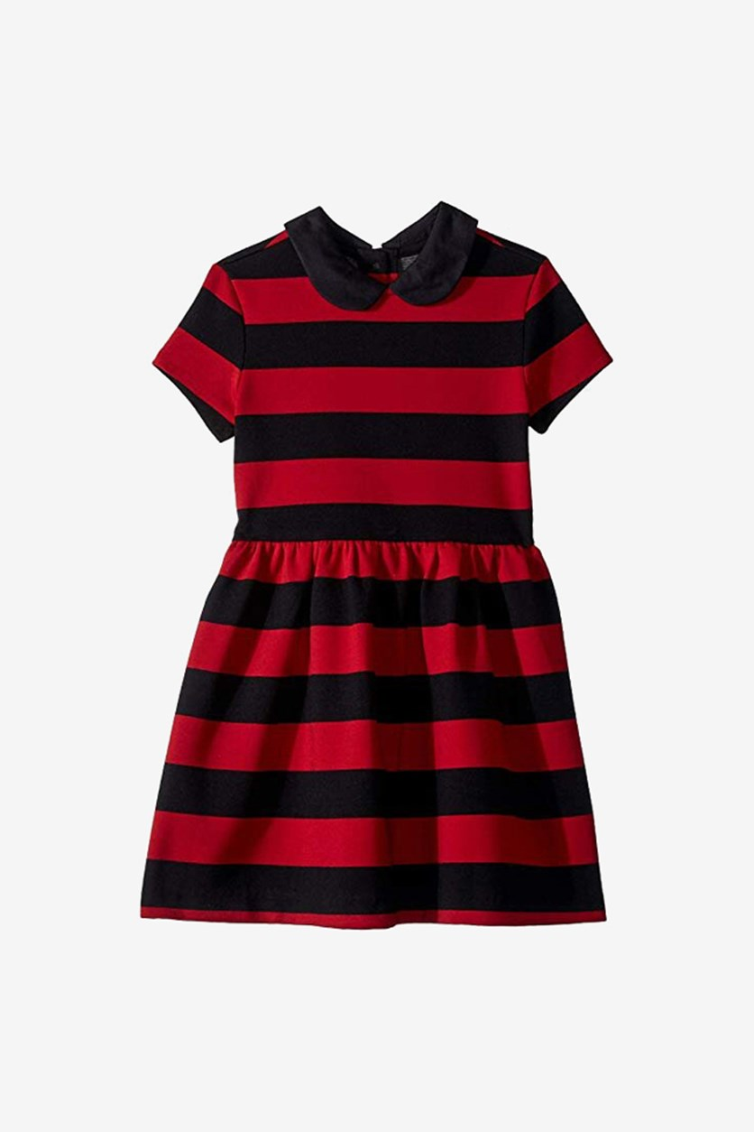 Girls' Ponte Roma Striped Dress, Black Combo