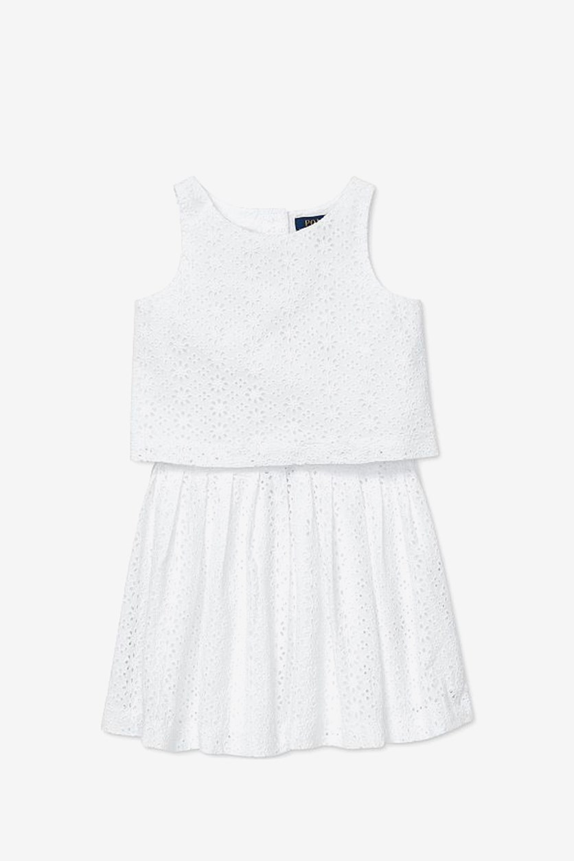 Girls' Eyelet Top & Skirt Set, White