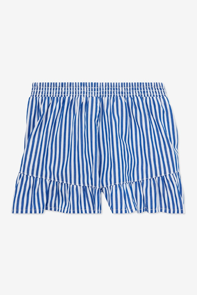 Girl's Striped Ruffled Cotton Shorts, Blue/White