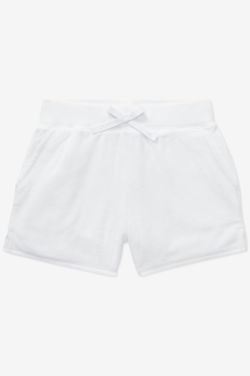Girls' Cotton-Blend Terry Shorts, White