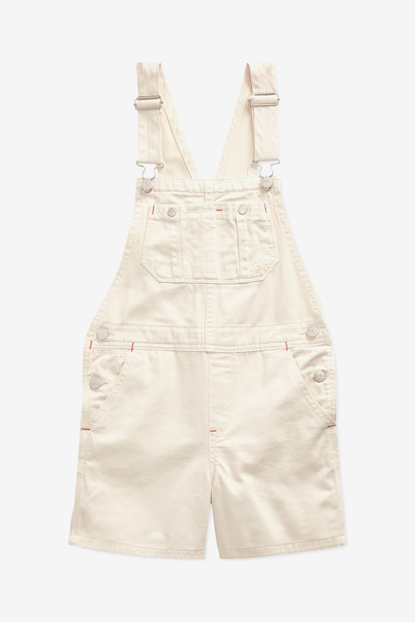 Big Girls Floral-Print Denim Cotton Overalls, Beige