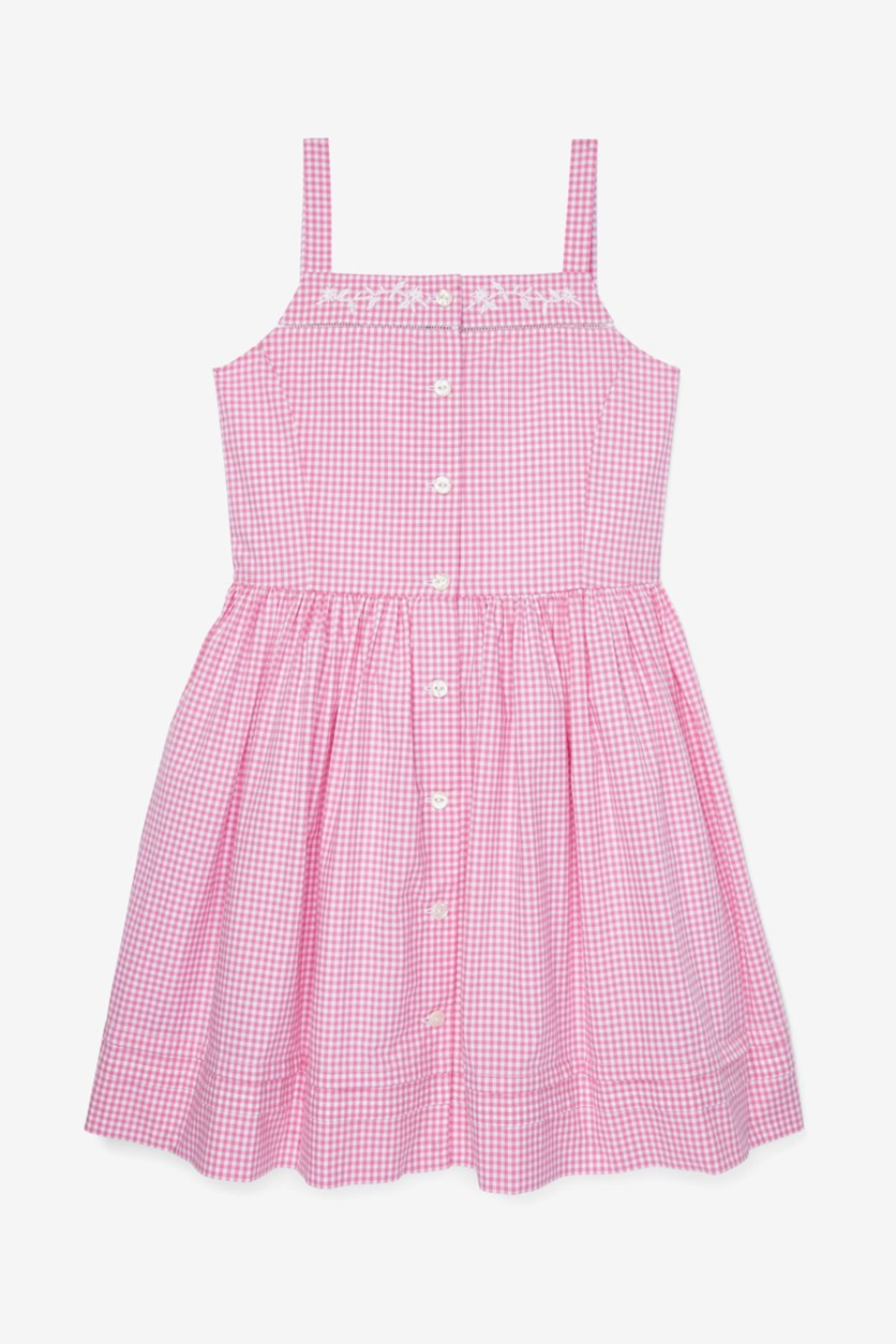 Big Girls Gingham Cotton Dress, Pink