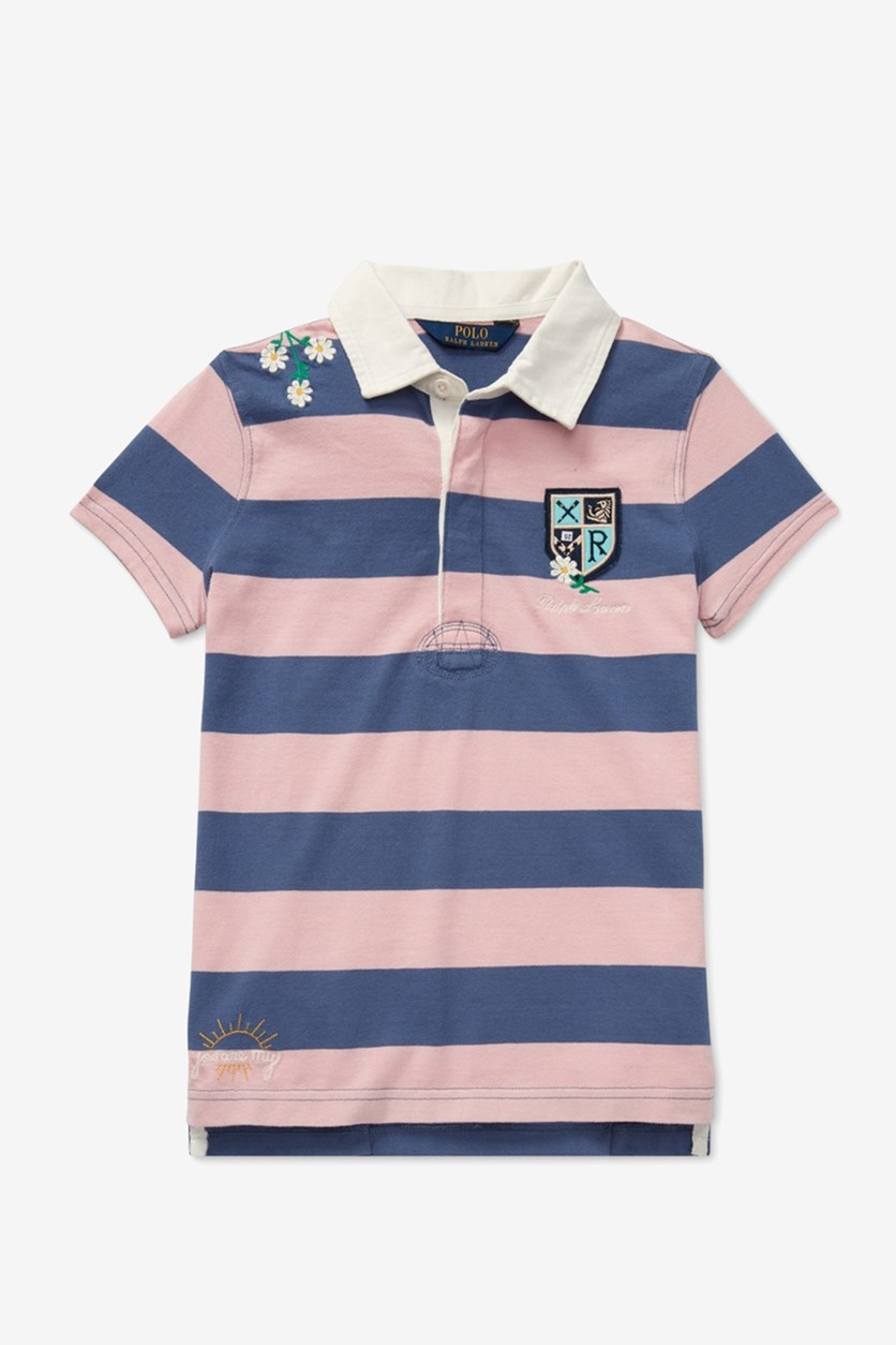 Kids Girls' Embroidered Rugby Shirt, Pink