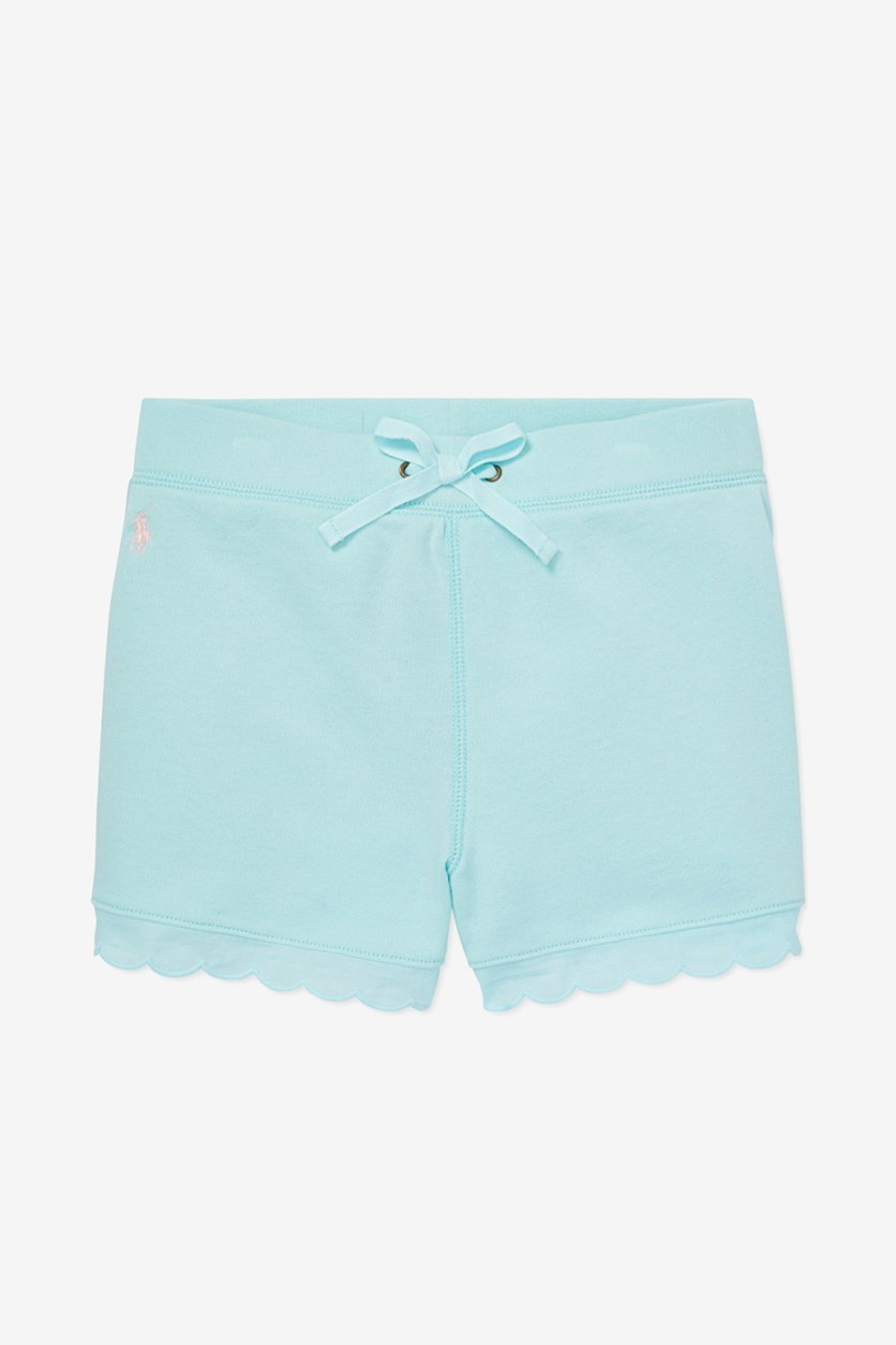 Kids Girl's Scallop Trim French Terry Shorts,  Aqua