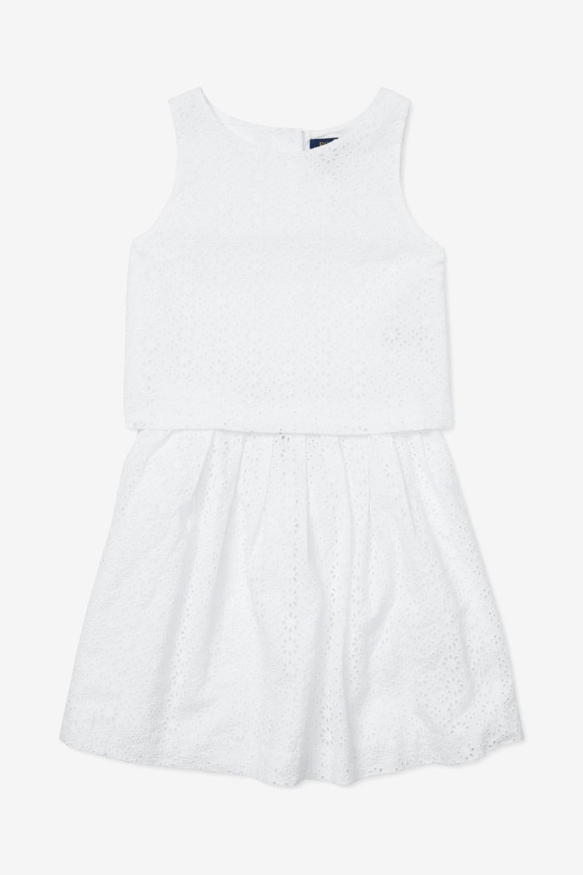Big Girls Eyelet Top & Skirt Set, White