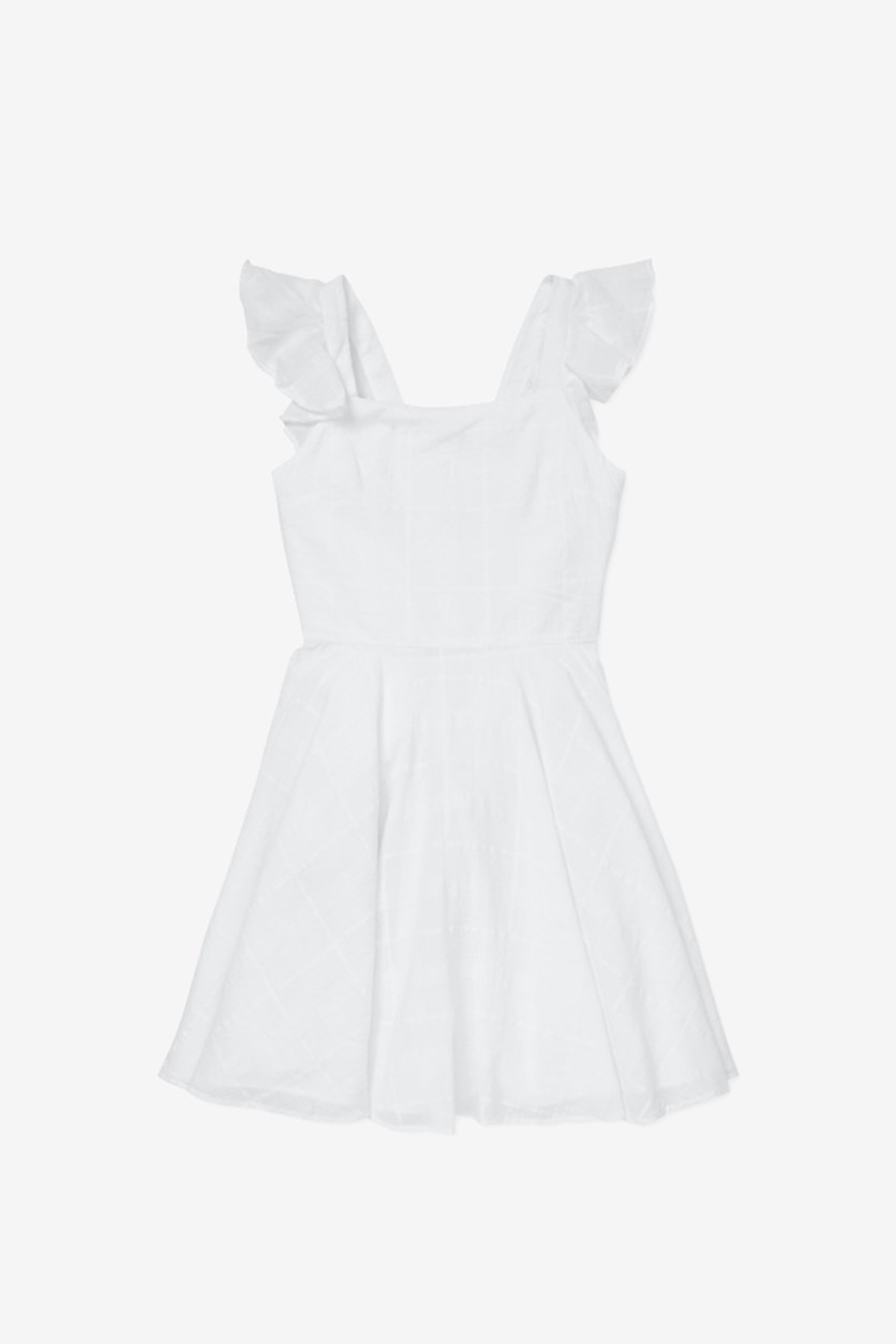 Girls' Windowpane Cotton Dress, White