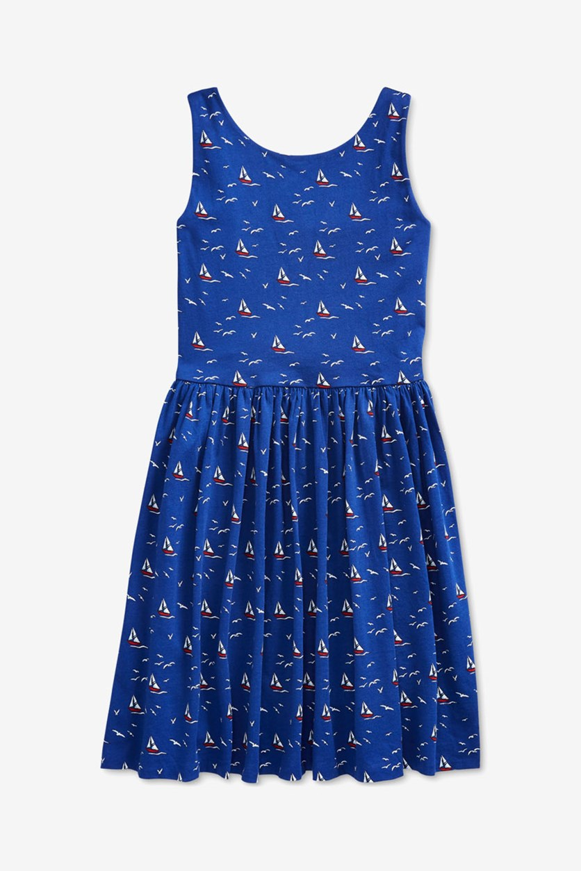 Girls' Sailboat Fit-and-Flare Dress, Navy Blue