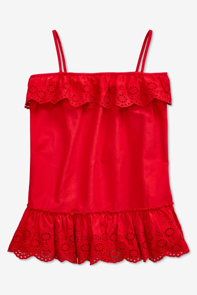 Girls' Ruffled Eyelet Top, Red