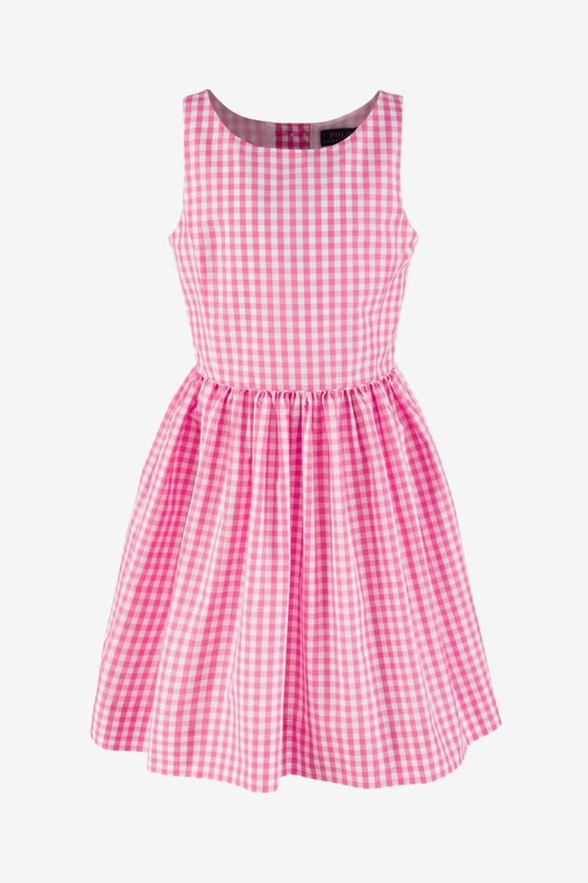 Big Girls' Checkered Fit-and-Flare Dress, Pink