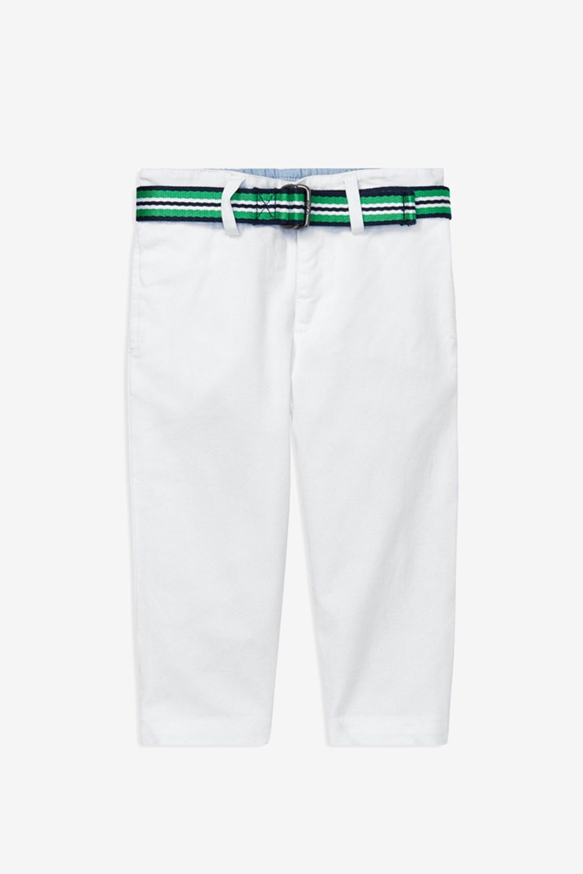 Toddler Boys' Belted Stretch-Chino Pants, White