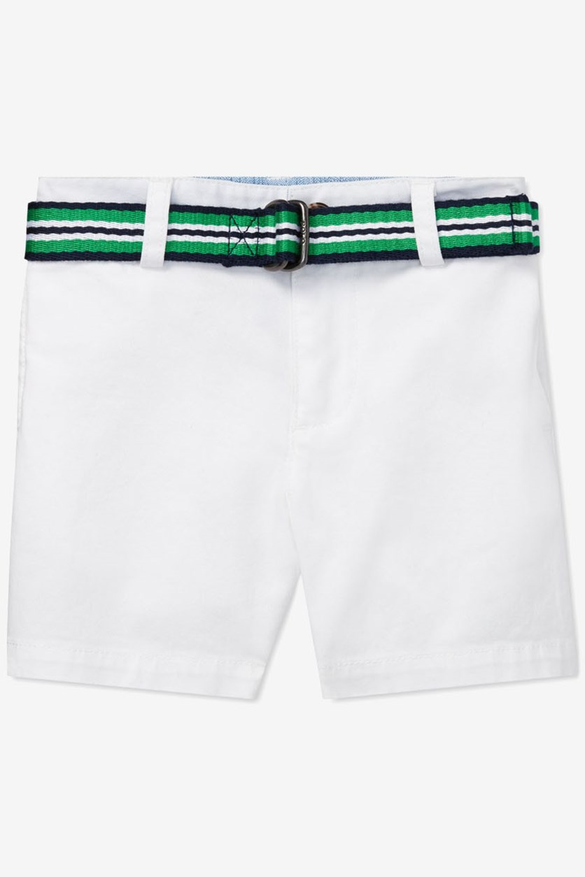 Baby Boys' Belted Stretch-Chino Shorts, White