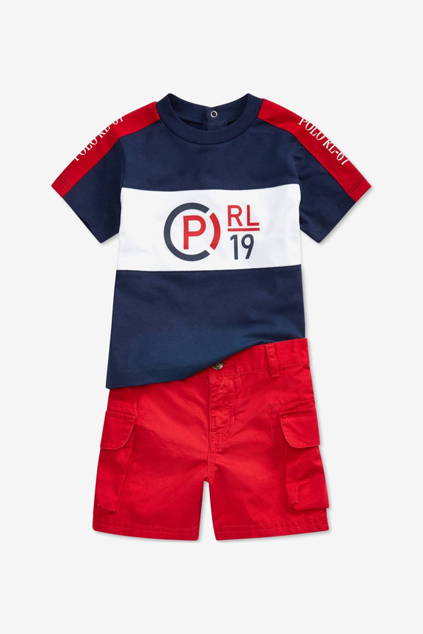 Baby Boys Graphic T-Shirt & Cargo Shorts Set, Navy/Red