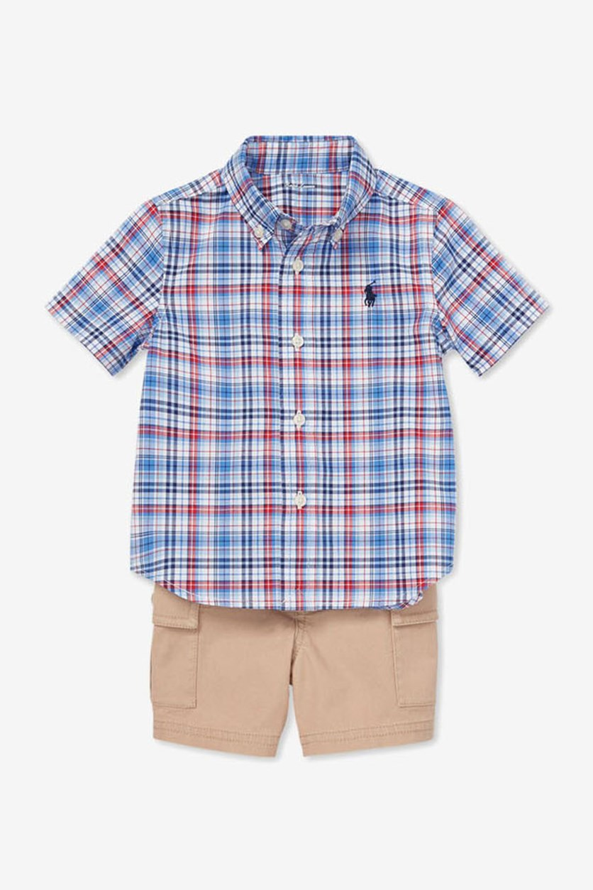 Baby Boys Plaid Shirt & Cargo Shorts Set, Bllue/Khaki