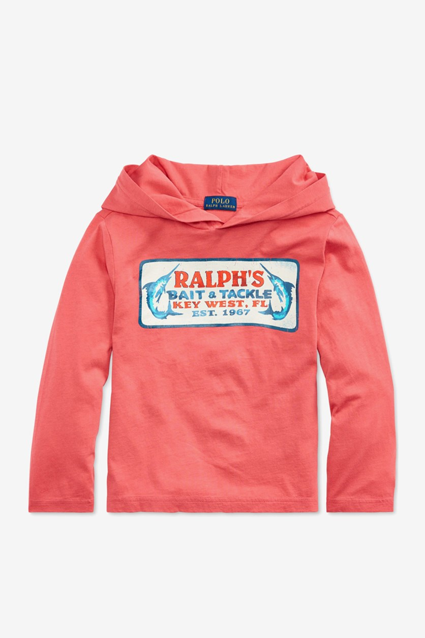 Toddler Boys Hooded Graphic T-Shirt, Red Sky
