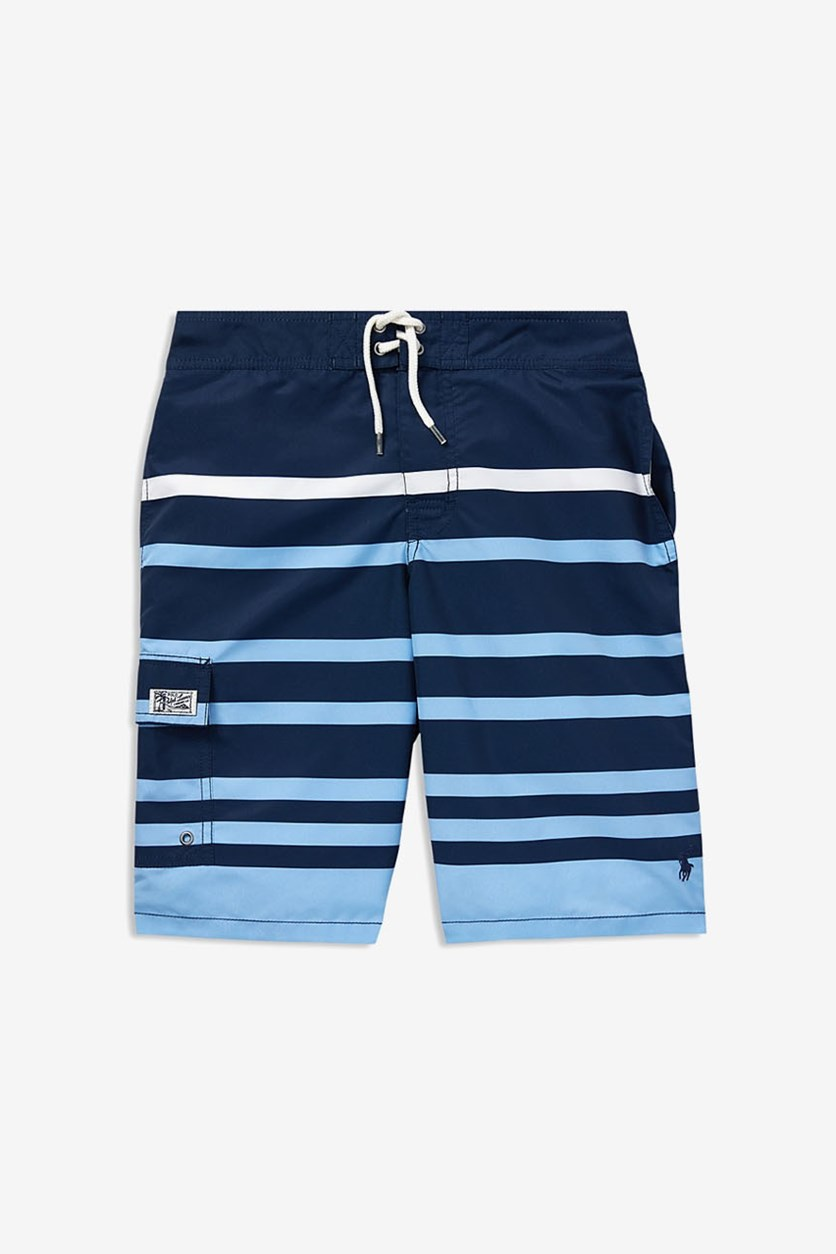 Kids Boys' Kailua Striped Swim Trunks, Blue