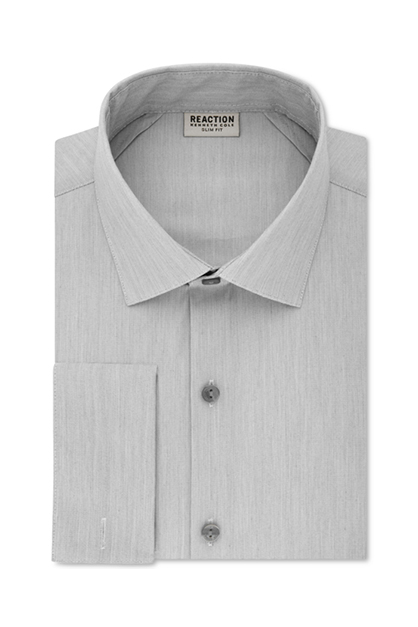 Men's Slim-Fit Broadcloth French Cuff Dress Shirt, Grey