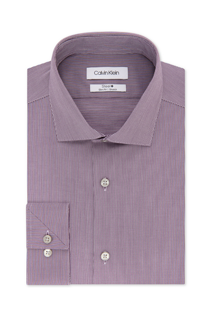 Men's Steel Slim-Fit Non-Iron Stretch Performance Unsolid Dress Shirt, Purple