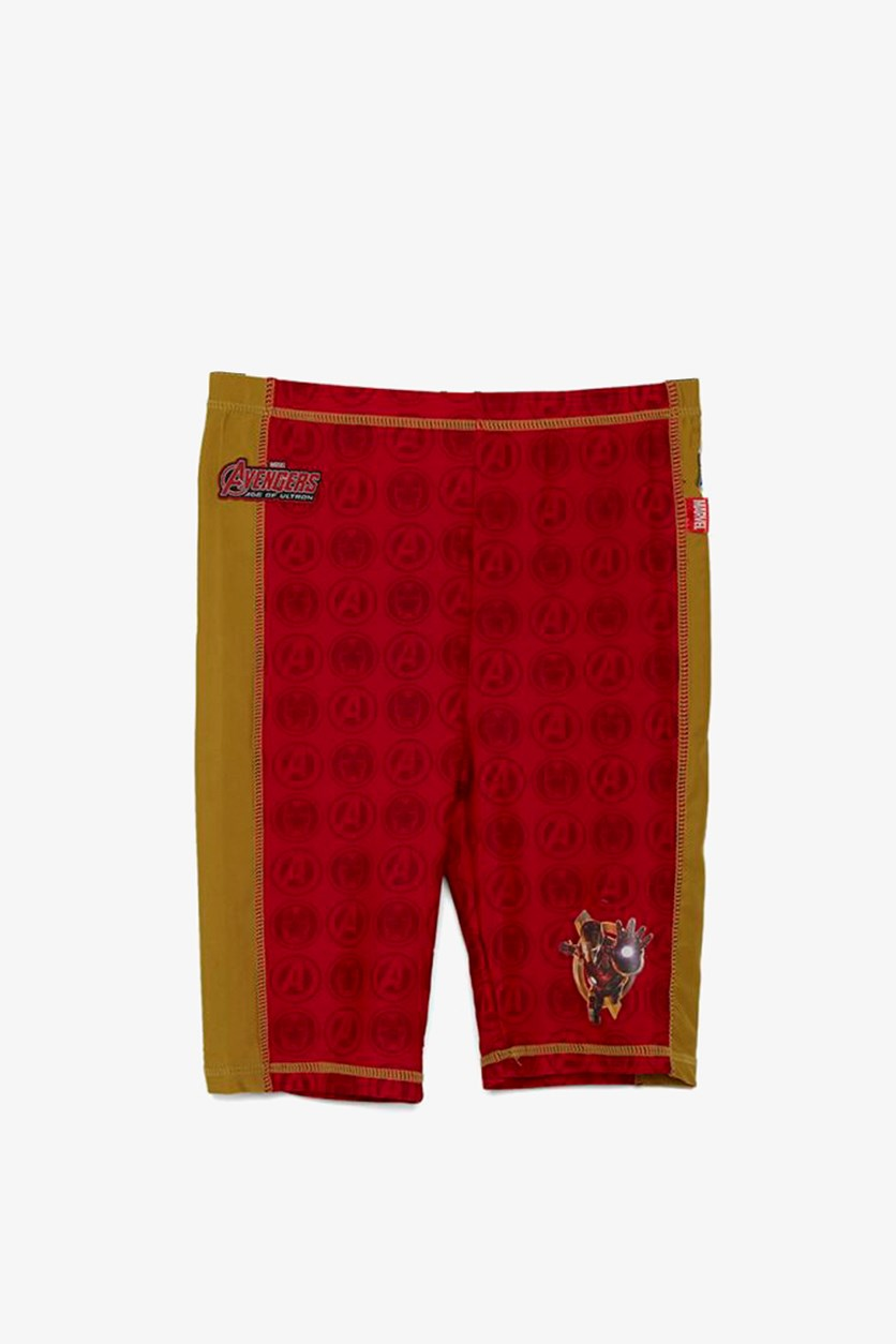 Toddler's Avengers Ironman Swim Short, Red/Yellow