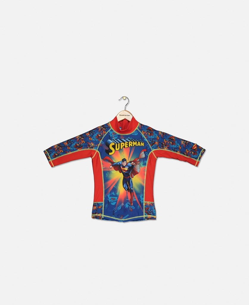 Toddlers Superman Shirt Rash Guard, Blue/Red