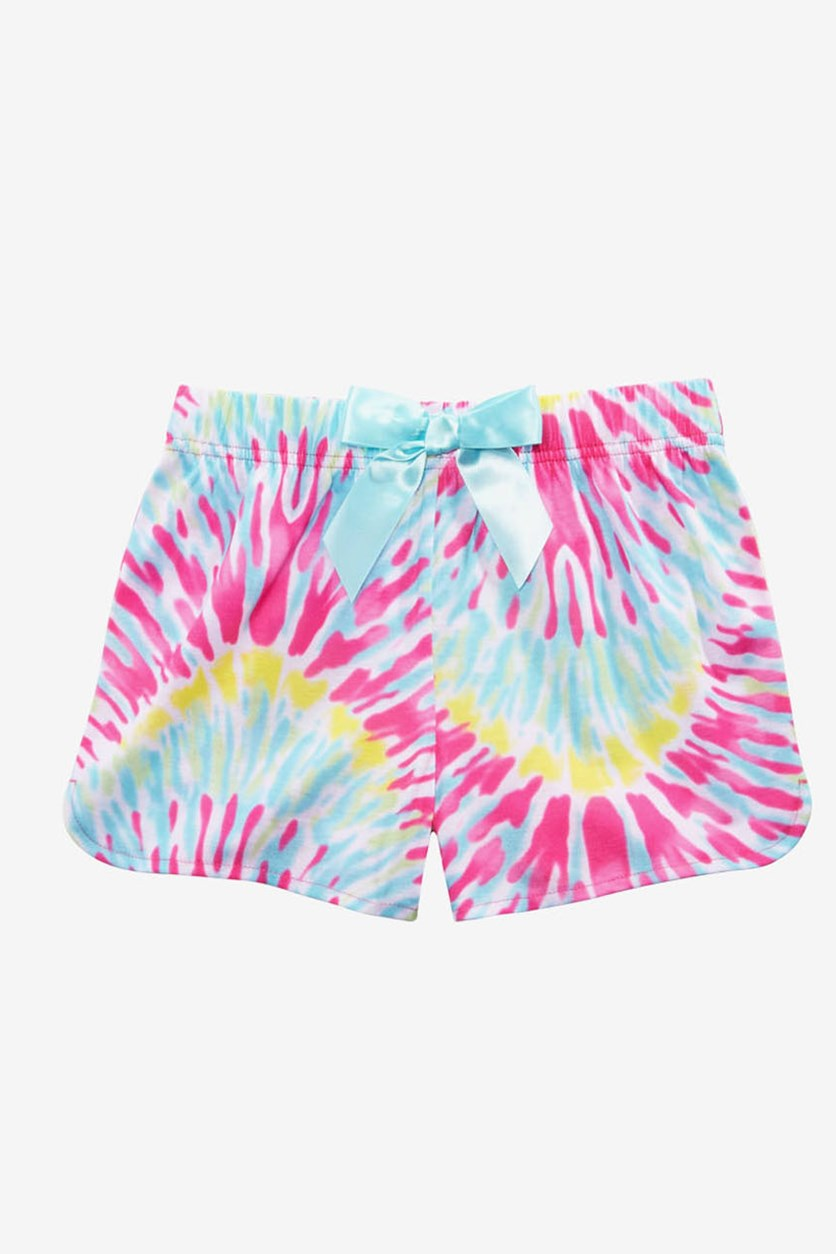 Big Girls Tie-Dyed Pajama Shorts,  Pink Combo
