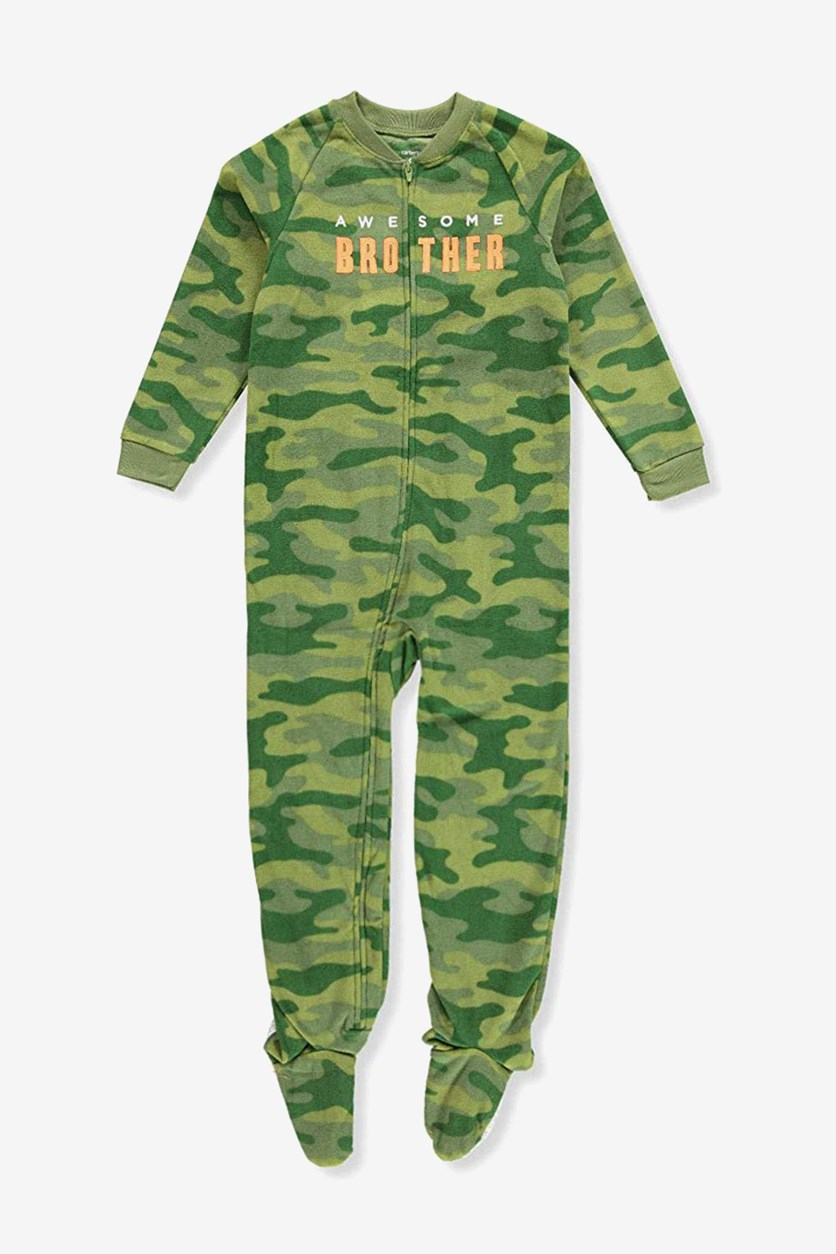 Toddler Boys One Piece Camouflage Footed Pajamas, Green