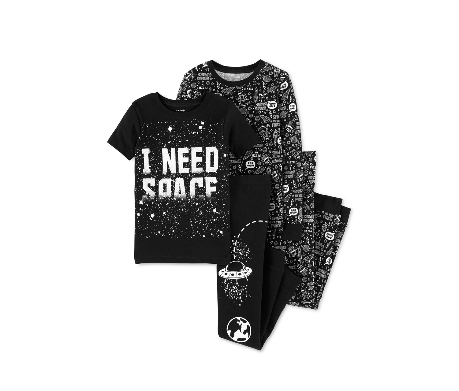Boys 4-Pieces Pizza in Space Printed Pajama Set, Black