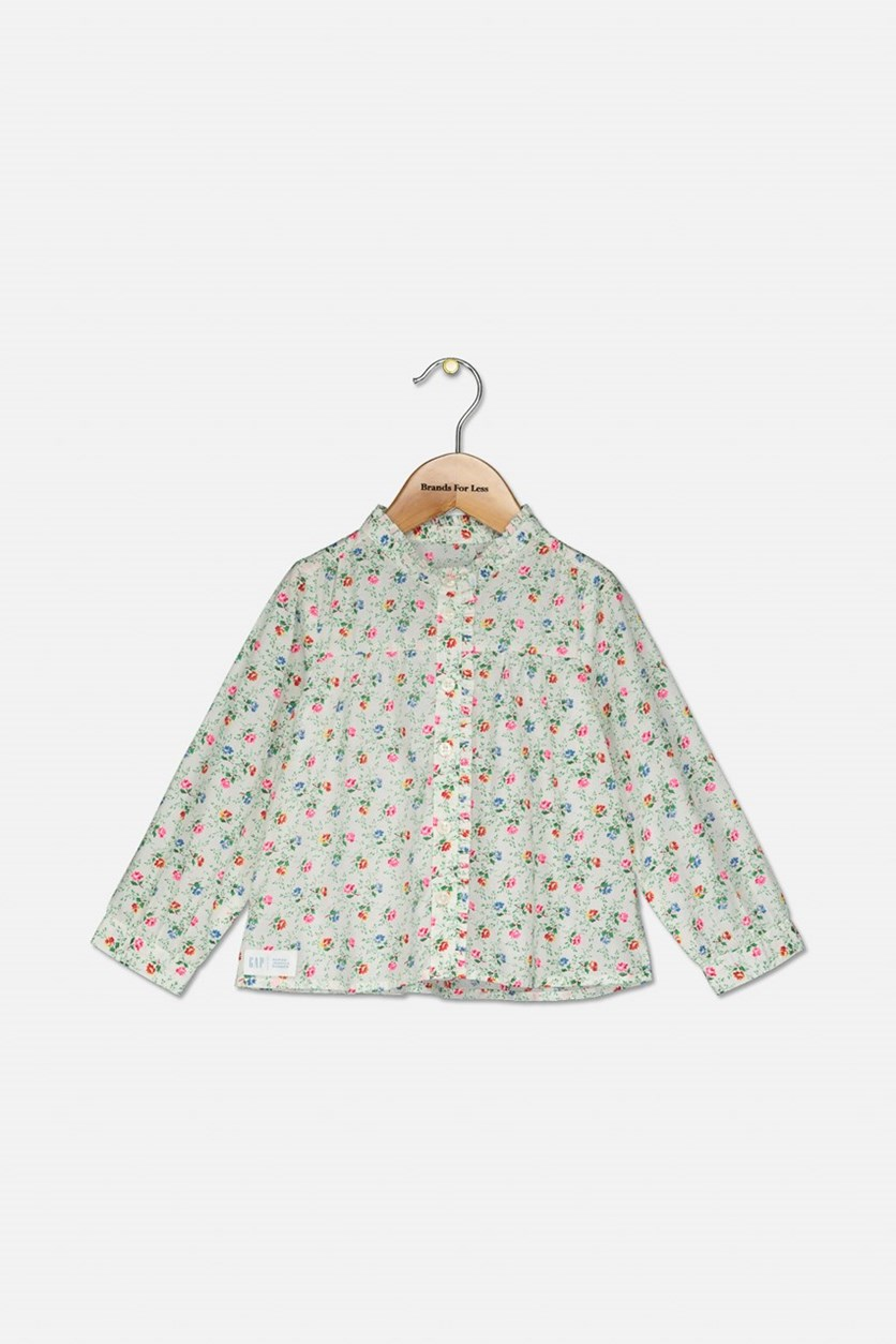 Girl's Floral Print Tops, White Combo
