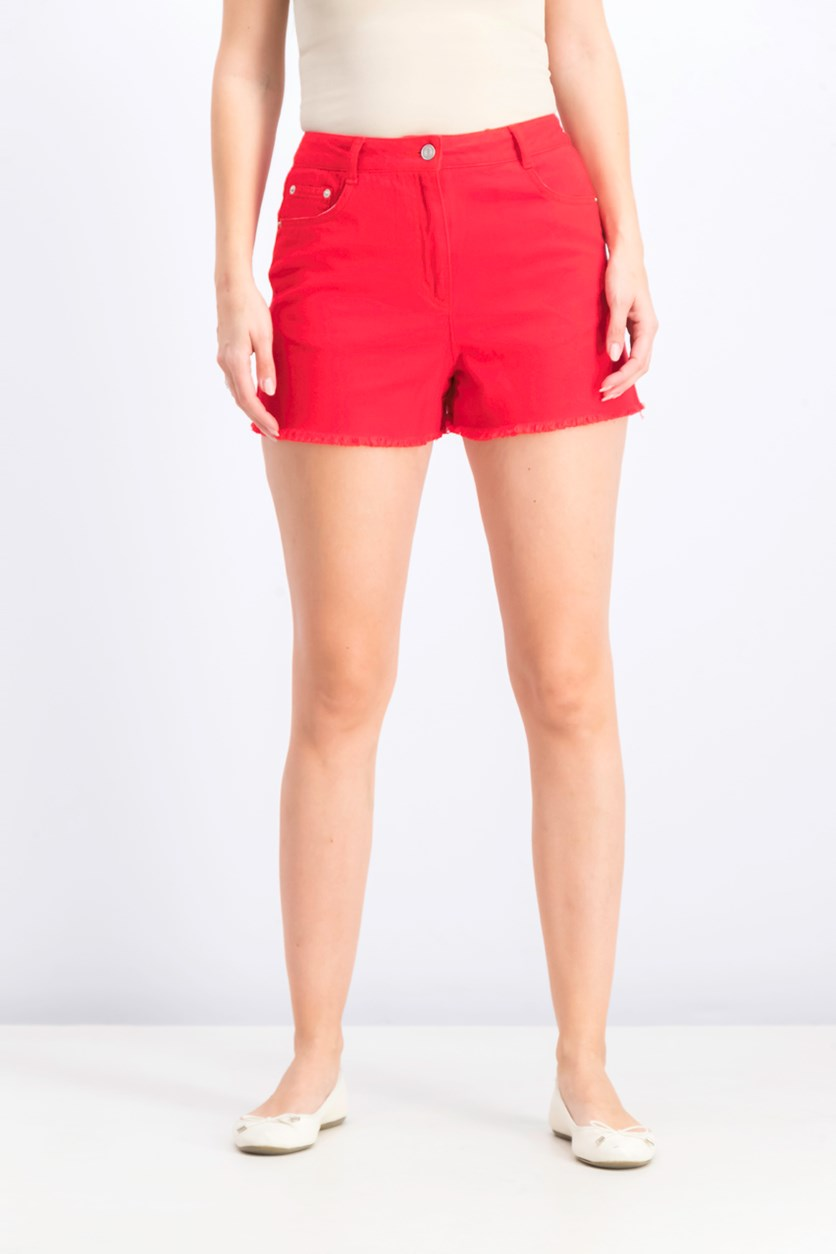 Women's Raw Hem Pull On Short, Red