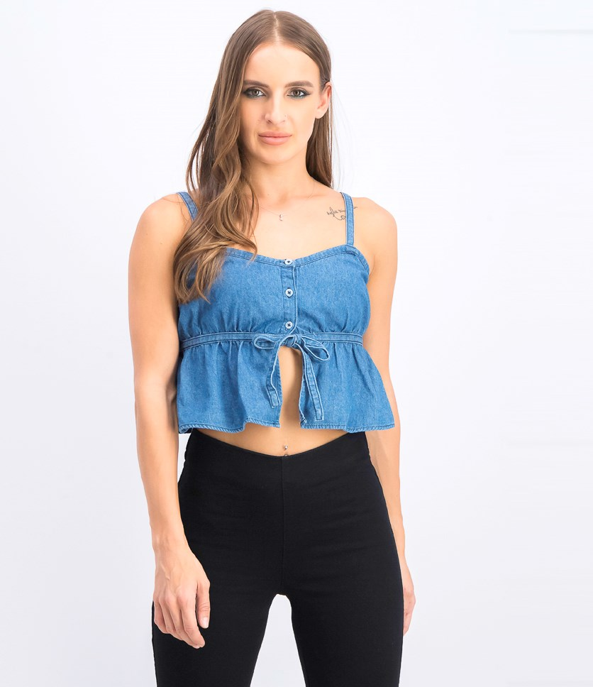 Women's Denim Sleeveless Top, Blue