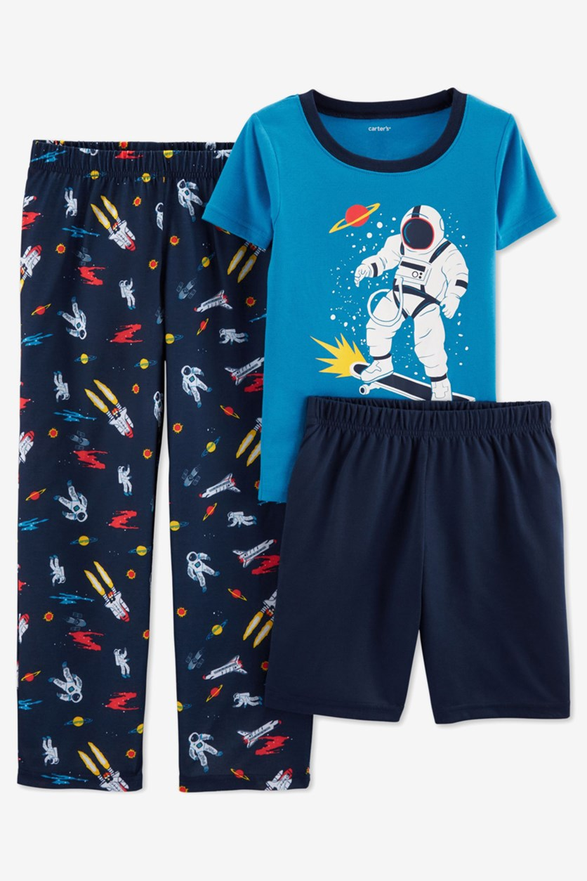 Little Boys 3-Pc. Space Top And Pajamas, Navy