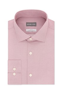 Men's Slim-Fit Non-Iron Airsoft Stretch Performance Dress Shirt, Pink Dot Check