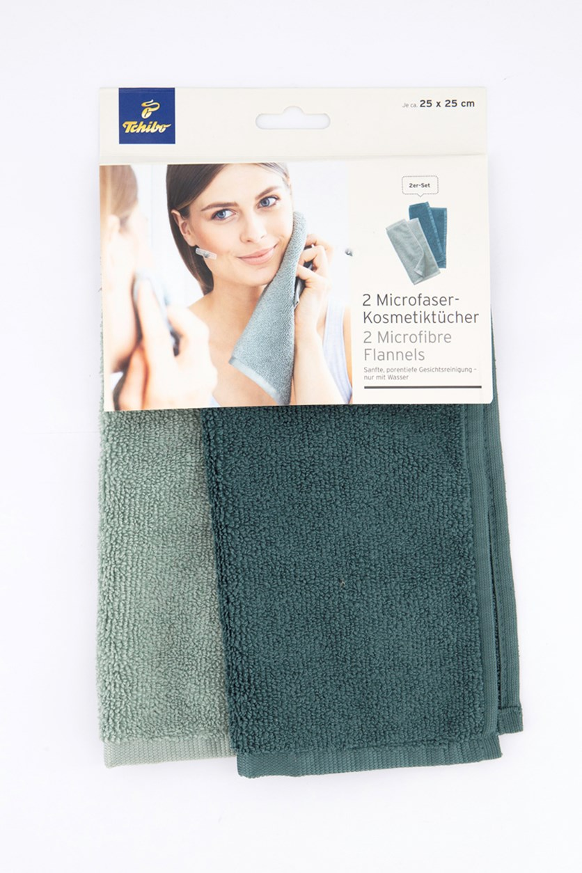 Cosmetic Cloth Set of 2, Jade Green/Dark Green